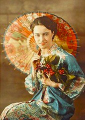 Woman in Japanese Costume--Autocrome (kevin63) Tags: lightner facebook kasbahsalome autochrome woman kimono parasol old antique vintage color picture photo 1900s flowers