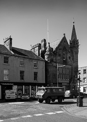Junction of Church Street and South Street St Andrews (Joe Son of the Rock) Tags: standrews southstreet churchstreet bank clydesdalebank townhall standrewstownhall fife kingdom kingdomoffife blackandwhite