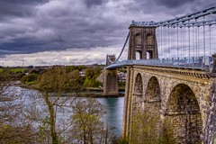 Porthaethwy (GarethBell) Tags: wales north northwales porthaethwy menaibridge menaistraits crossing canon 6d canon6d hdr 35mm bridge suspension suspensionbridge clouds outdoors outside sea tidal anglesey