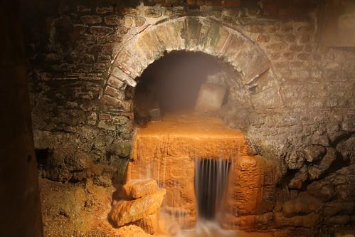 Water flow in the Roman bath, Bath, England