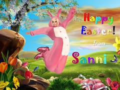 Happy Easter (Sannita_Cortes) Tags: pink blue red rabbit green easter happy ears secondlife eggs secondlifesecondlife virtualfashion