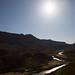 The sun shining over the Rio Grande