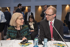 Susan Kurland, USA speaking with Eero Pärgmäe, Estonia