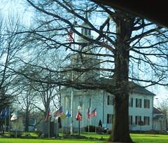 Congregational Church of Tallmadge (bjebie) Tags: trees ohio church spring landmark patriotic flags historic 1825 houseofworship congregationalchurch soldiersmemorial summitcountyohio tallmadgeohio