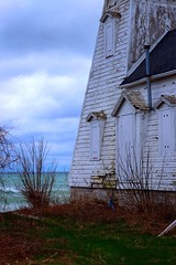 Light House Point Traverse (janet.capling) Tags: lighthouse white ontario green heritage texture water grass clouds contrast waves shingles bluesky quinte