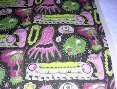 Cosmic Cooties, small scale, test swatch close up (sassyone2013) Tags: wallpaper monster wrapping paper design weird whimsy quilt sewing space alien wrap sew aliens fabric gift indie quilting designs astronomy monsters quilts outer creatures creature decals quirky whimsical spoonflower