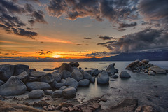 Go forth under the open sky, and list To Nature's teachings… (ferpectshotz) Tags: sunset water colors clouds rocks nevada laketahoe clear shore sandharbor bigstopper