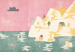Greece (Barbara Dziadosz Illustration) Tags: pink plants art nature water girl female swim landscape design countryside wasser purple character country hill pflanzen gelb characters grn landschaft characterdesign waterlady barbaradziadosz