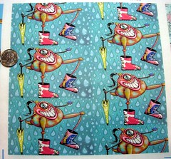 Wellies, small scale, 8x8 test swatch in basic combed cotton (sassyone2013) Tags: wallpaper rain monster wrapping paper design weird sewing wrap sew fabric gift indie quilting designs monsters creature decals quirky rainboots spoonflower