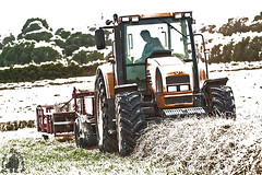 Snow going .jpg sm (yph photography) Tags: white snow tractor tree photoshop canon fun photography farming row tires cc sledge haymaking bailing yampy