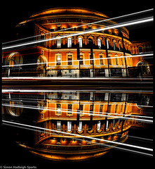 Royal Albert Hall London By Simon & His Camera (Simon & His Camera) Tags: road city light urban reflection building london lines architecture night composition contrast dark lights colours symmetry dome round iconic simonandhiscamera