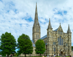 Salisbury Cathedral, Wiltshire, Exterior (JackPeasePhotography) Tags: camera trees windows summer west church window glass architecture contrast colours cathedral gothic churches cathedrals arches front stained spire salisbury wiltshire salisburycathedral southwestengland