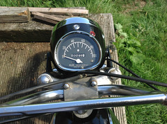 clock mileage (Nicola_R) Tags: red 2 two classic bike vintage bristol japanese stroke retro motorbike trail chrome 1967 motorcycle restored restoration suzuki enduro bearcat scrambler b105 trailbike b105p vjmc
