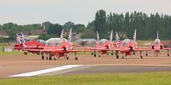 R.A.F. Red Arrows RIAT 2014 Fairford Arrivals day      . (Bob Symes) Tags: hawk bae redarrows raf militarytrainingaircraft riat2014fairfordarrivalsday1