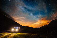 On the road, under the Milky Way (Federico Ravassard) Tags: life mountain canon way stars nightscape van milky mont 6d 14mm samyang cenis