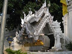 Gold plated wats I've heard of, but silver wats? (oldandsolo) Tags: thailand southeastasia buddhism chiangmai wat highstreet buddhisttemple norththailand buddhistshrine buddhistreligion watsrisuphan chiangmaistreet buddhistfaith silverubosot chiangmaitraffic downtownchiangmai