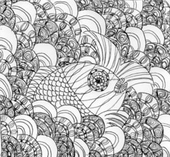 "Mandala Art ""Hoksei Koi Fish"" (Pen Drawing) (Loopy Lucille) Tags: fish japan japanese pattern mandala zen meditation relaxation handdrawing zentangle hoksei"
