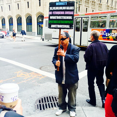 Yetroqueniol Coverage (Jeremy Brooks) Tags: sanfrancisco california street usa sign person frankchu montgomerystreet iphone sanfranciscocounty