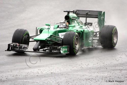 Kamui Kobayashi in his Caterham during Free Practice 3 at the 2014 British Grand Prix