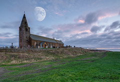Churchpoint. (Callaghan69) Tags: longexposure morning sky moon building composite clouds landscape dawn coast nikon wideangle historic northumberland le slowshutter daybreak churchpoint stbartholomewschurch northeastengland northumberlandcoast newbiggin northumbrian d7100 nikond7100