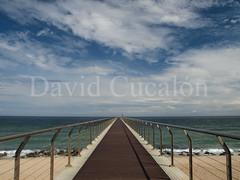 Way to sea (David Cucaln) Tags: bridge blue sea sky david azul clouds relax puente mar heaven deep paz cel olympus calm cielo nubes pau calma nuvols badalona 2014 relajacion e510 profundidad cucalon pontdelpetroli 1442mm