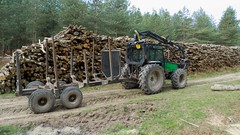Tractor towed forwarder (ghostwheel_in_shadow) Tags: england tractor tree sussex scotland flora europe westsussex unitedkingdom forestry farming chestnut agriculture deciduous coppice lodsworth broadleaf sweetchestnut farmmachine farmimplement forwarder coppicing bexleyhill englandandwales forestrymachine agriculturefisheryandforestry