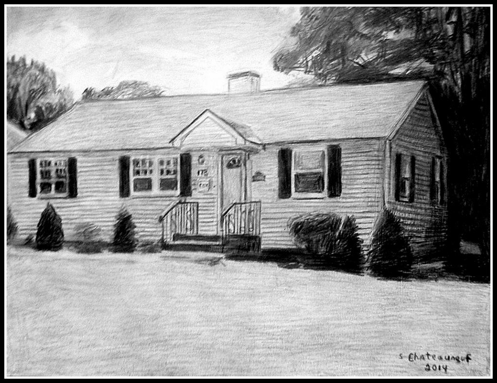 A pencil drawing of a house in lowell ma drawn by steven chateauneuf
