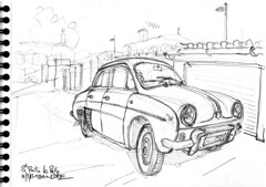 "Dauphine ""Export"" (Croctoo) Tags: croctoo croquis croctoofr crayon auto renault poitou poitoucharentes dauphine"