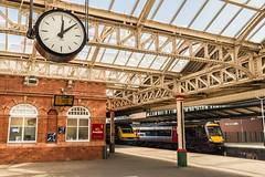 12:08 (Nodding Pig) Tags: nottingham railway station train nottinghamshire england greatbritain uk 2017 clock class43 dieselelectric locomotive 43073 dieselmultipleunit class170 170112 dmu eastmidlandstrains crosscountrytrains 201703215749101