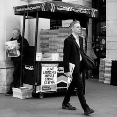 West End Final - Charing Cross (stevedexteruk) Tags: trump syria 2017 attack missile strike war politics charing cross london uk newspaper headline eveningstandard standard west end final strand 1x1 square squareformat
