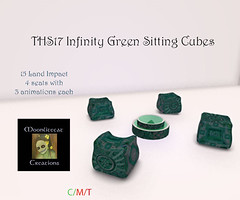 THS17 Infinity Green Sitting Cubes Ad Pic (moonlitecat) Tags: moonlitecat creations second life secondlife twisted hunt 2017 infinity cabin bar ride cubes hellraiser tonic ebody belleza maitreya slink physique hourglass prim mesh fitmesh rigged omega appliers rug cuddle sexy tunic pants slacks dress ribbon animation coffee table chairs chair seat sit rideable able green blue blurple crome materials see through stool barstool shelves spinning art original creative moonlite moon
