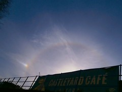 Sun dog and 22° halo and section of parhelic circle, Oxford 02-17 (spiralsheep) Tags: oxford uk england britain photo 2017 sky sundog halo rainbow