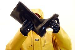 Protection (essex_mud_explorer) Tags: rainwear raincoat coat yellow hellyhansen nusfjord nora dolomit dolomite wellies wellingtons wellington wellingtonboots welly gumboots gummistiefel rubberlaarzen rubberboots gloves gauntlets rubber marigoldemperor me107