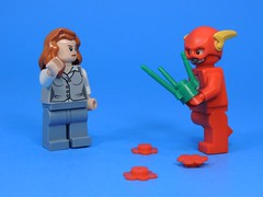 Flowers Ruined (MrKjito) Tags: lego minifig flash comic dc iris west flowers ruined super speed force running barry allen