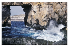 Azure Window, Gozo, Malta, 1979 (real00) Tags: gozo malta landscape seascape cliffs geology rockformation azurewindow sea waves ocean mediterranean