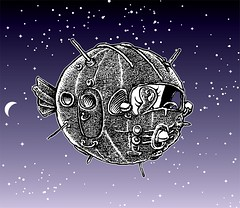 Used space craft (Don Moyer) Tags: airship spaceship spacecraft sphere ink drawing sketchbook moyer donmoyer brushpen