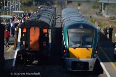 22052+22053 depart Ballinasloe, 8/4/17 (hurricanemk1c) Tags: railways railway train trains irish rail irishrail iarnród éireann iarnródéireann 2017 22000 rotem icr rok 3pce ballinasloe 0925heustongalway 22052