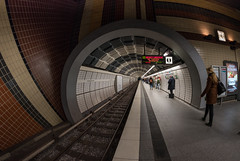 no light at the end of the tunnel / not even an end (Özgür Gürgey) Tags: 12mm 2017 d750 hamburg nikon samyang architecture circular curves fisheye lines rails station street subway vanishingpoint