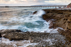 Ocean Beach, San Diego (Photos By Clark) Tags: beachshots california canon2470 canon60d cities locale location northamerica places sandiego subjects unitedstates where pacific lightroom nik colorefx wave rocks cliffs pier people white blue goldenhour wet water