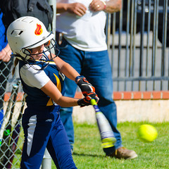 It's a Hit (Kevin MG) Tags: girl girls youth young cute pretty little kid child softball sport sports game player batter batting playing blue swing athlete athletic tongue ball