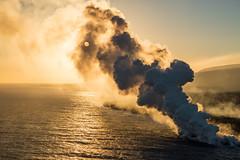 Sunset Over the Lava Plume (Raiatea Arcuri) Tags: lava ocean entry kilauea volcano aeriel hawaii bigisland plume smoke