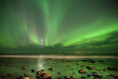Aurora Borealis - Vatnsnes - Iceland (funkytravel) Tags: vatnsnes aurora beach green iceland landscape longexposure night nopeople northernlight panorama reflect rock scenic sea sky star stone winter winterlandscape