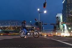 Waiting for the light (akira.nick66) Tags: cafe city cityview holiday korea korean lighttrails motion motions moving nightphaotography nightscene nightview seoul seoulcity southkorea streetlights streetphotography streetview travel traveling vacation