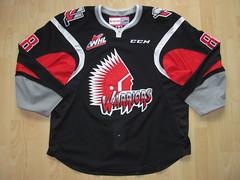 Moose Jaw Warriors 2015 - 2016 Game Worn Jersey (kirusgamewornjerseys) Tags: whl game worn jersey ice hockey jesse shynkaruk moose jaw warriors