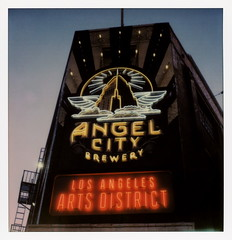 Angel City Neon (tobysx70) Tags: the impossible project tip polaroid slr680 frankenroid sx70 door rollers film for 600 type cameras instant roidweek roid week polaroidweek spring april 2017 angel city neon alameda street arts district dtla downtown los angeles la california ca brewery alehouse public house pub brewpub craft beer ipa sign lit illuminated twilight dusk fire escape day6 toby hancock photography