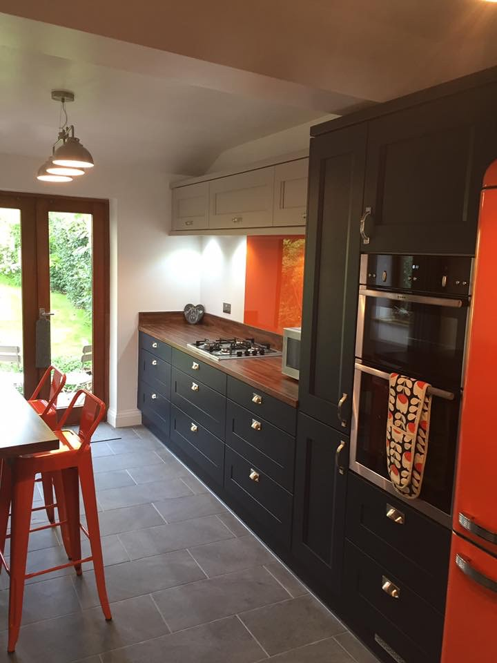 Gorgeous New Kitchen Recently Finished For A Customer In Chelmsford.  Striking Orange Finishes It Off