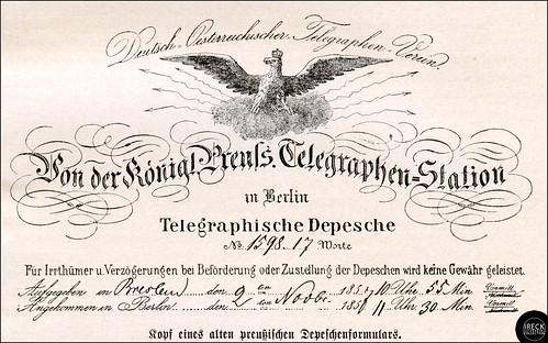Kopf eines alten preußischen Depeschenformulars