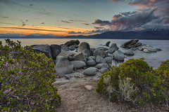 Wilderness is not a luxury but a necessity of the human spirit... (ferpectshotz) Tags: flowers sunset nature clouds landscape spring rocks laketahoe boulders blooms alpinelake