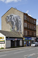 Panther artwork on Glasgow Tenement building (kw2p) Tags: urban streetart art painting artwork panther