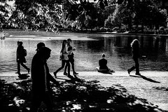 People at the Lake (Claus Tom) Tags: street shadow people blackandwhite bw woman lake female copenhagen denmark couple shadows candid crowd streetphotography cph folks humans københavn østerbro